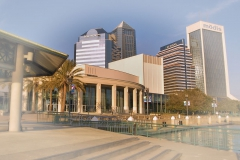 Times Union Center for Performing Arts with downtown Jacksonville skyline in back