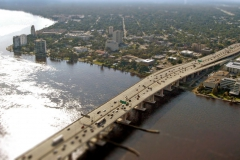 Aerial view of the Acosta Bridge leading to the Riverside district