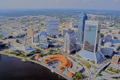 Aerial view of downtown jacksonville with Modis and Suntrust buildings