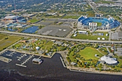 Aerial view of St. Johns River and  TIAA Bank Stadium