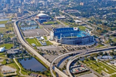 Aerial view TIAA Bank Stadium and downtown Jacksonville
