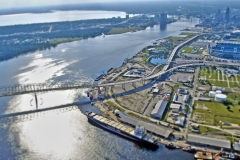 Aerial view of St. Johns River winding through and downtown Jacksonville