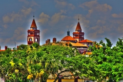 2 Spires on top of historic Flagler College in Saint Augustine