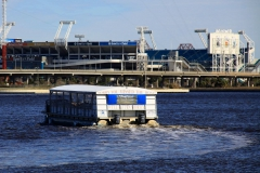 Pontoon water taxi leaving to TIAA Bank Stadium