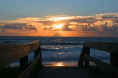 Sunrise over the Atlantic  Ocean from beach access boardwalk