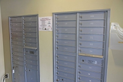 Rows of mailboxes for residents
