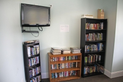 Resident library with flatscreen tv